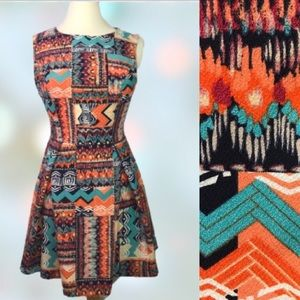 Forever21 Turquoise & Orange BOHO Dress Size small